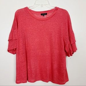 1. State | Ruffle Sleeve Linen Top Coral Small